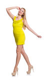 Pretty tall woman in short yellow dress isolated Stock Images