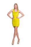 Pretty tall woman in short yellow dress isolated Stock Photo