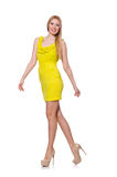 The pretty tall woman in short yellow dress Stock Photos