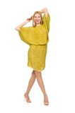 Pretty tall woman in yellow dress isolated on Stock Photography