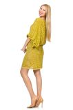 Pretty tall woman in yellow dress isolated on Royalty Free Stock Images