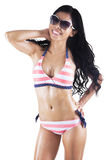 Pretty tanned woman in striped bikini 1 Stock Image