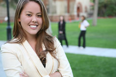 Pretty Teacher on Campus Stock Photos