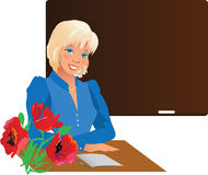 Pretty teacher with flowers Stock Image