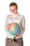 Pretty teacher with globe Stock Photography