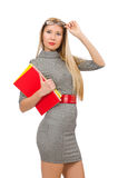 The pretty teacher holding books  on white Royalty Free Stock Image