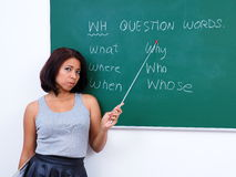 Pretty teacher teaching question words royalty free stock image