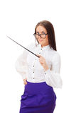 Pretty Teacher With Pointer Royalty Free Stock Image