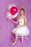 Pretty Teen Blonde Girl - Party Dress - balloons= Royalty Free Stock Photo