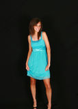 Pretty teen in blue dress Royalty Free Stock Images