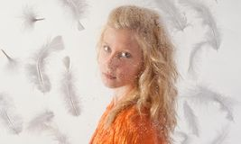 Pretty Teen With Feathers Stock Images
