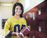 Pretty Teen Football Fan Stock Photo