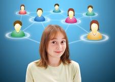 Pretty teen girl along social network members. Pretty young teen girl with illustrated social network members around her head Stock Image