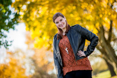 Pretty Teen Girl - Autumn Fall Leaves royalty free stock photos