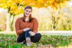 Pretty Teen Girl - Autumn Fall Leaves Stock Photo