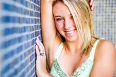 Pretty teen girl with blonde hair Royalty Free Stock Images