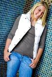 Pretty teen girl with blonde hair Stock Photos