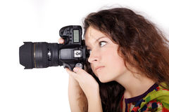 Pretty teen girl with camera isolated Stock Photos