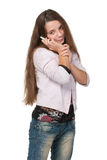 Pretty teen girl with a cell phone Stock Photography