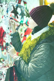 Pretty  teen girl with Christmas decoration Stock Photography