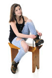 Pretty Teen Girl  Donning Work Boots Royalty Free Stock Image