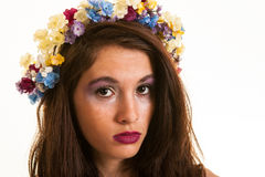 Pretty teen girl with flowers in hair Royalty Free Stock Photos