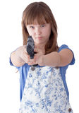Pretty teen girl with a gun Stock Photography