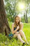 Pretty teen girl on meadow Royalty Free Stock Photos