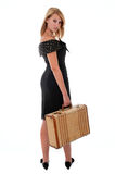 Pretty teen girl with old suitcase Stock Images