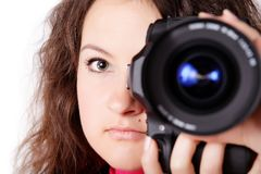 A pretty teen girl photographer Royalty Free Stock Photo