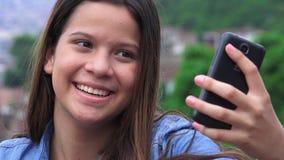 Pretty Teen Girl Posing For Selfies stock footage