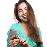 Pretty teen girl taking selfies Stock Photo