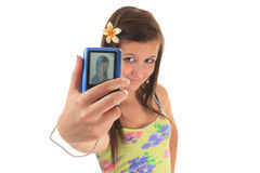 Pretty teen girl taking selfies Royalty Free Stock Photography