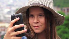 Pretty Teen Girl Taking Selfy Stock Image