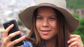 Pretty Teen Girl Taking Selfy stock video