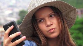 Pretty Teen Girl Taking Selfy Stock Photo