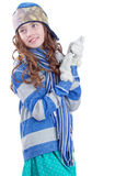 Pretty teen girl in winter clothes with smartphone Royalty Free Stock Photos