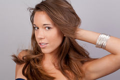 Pretty Teen With Hair Blowing Back stock photos
