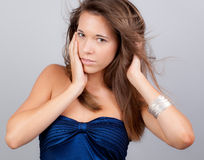 Pretty Teen With Hair Blowing Back Royalty Free Stock Images
