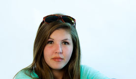 Teen With Glasses On Her Head Royalty Free Stock Photo