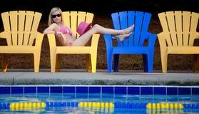 Pretty Teen In Bikini By Pool Stock Images