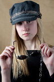 Pretty Teen In Cute Hat With Sunglasses Royalty Free Stock Photography