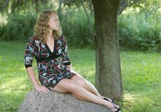 Pretty teen model outdoors Royalty Free Stock Images