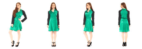 Pretty teen n dress front, back, side view, isolated Royalty Free Stock Image