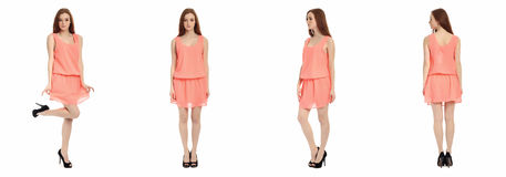 Pretty teen n dress front, back, side view, isolated Royalty Free Stock Photo
