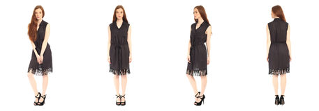 Pretty teen n dress front, back, side view, isolated Stock Photos