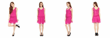 Pretty teen n dress front, back, side view, isolated Royalty Free Stock Images