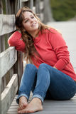 Pretty Teen Relaxing Outside Stock Photos