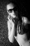 Pretty teen in shower bw image Stock Image