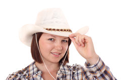 Pretty teen wearing Stetson hat Stock Photo